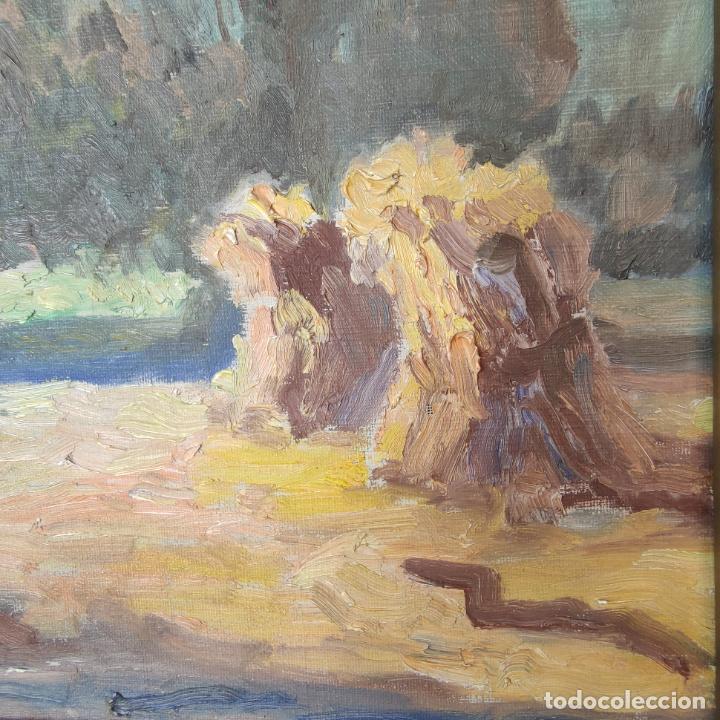 Arte: Oleo sobre lienzo. Paisaje campestre. Montones de paja. Siglo XIX-XX. - Foto 3 - 245969080