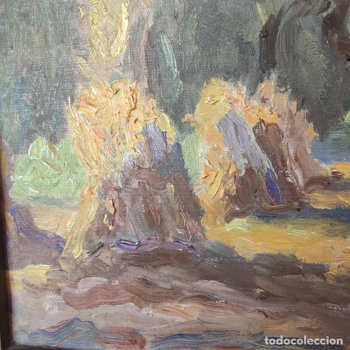Arte: Oleo sobre lienzo. Paisaje campestre. Montones de paja. Siglo XIX-XX. - Foto 4 - 245969080