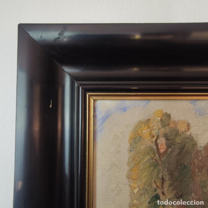 Arte: Oleo sobre lienzo. Paisaje campestre. Montones de paja. Siglo XIX-XX. - Foto 5 - 245969080