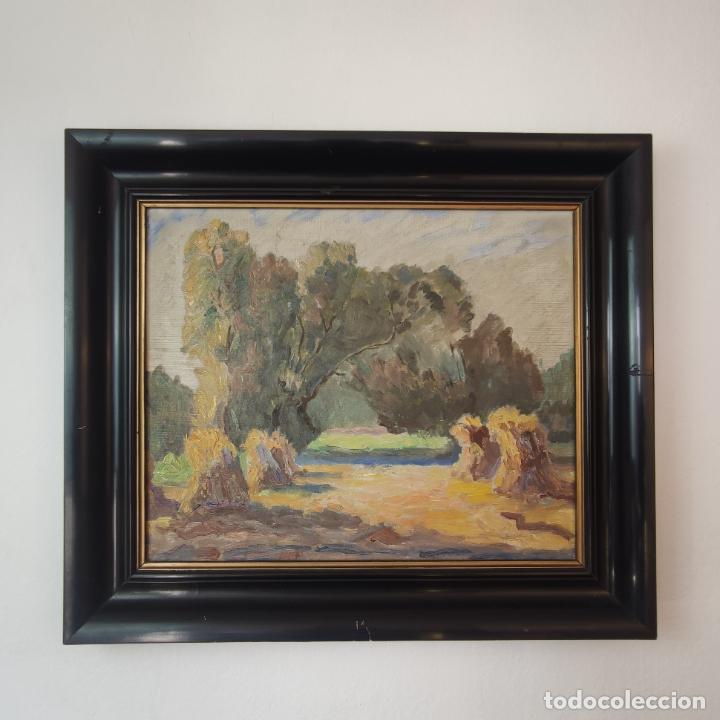 OLEO SOBRE LIENZO. PAISAJE CAMPESTRE. MONTONES DE PAJA. SIGLO XIX-XX. (Arte - Pintura - Pintura al Óleo Contemporánea )
