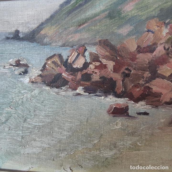 Arte: Oleo sobre lienzo. Paisaje marino. Rocas en la costa. Siglo XIX-XX. - Foto 2 - 245969920