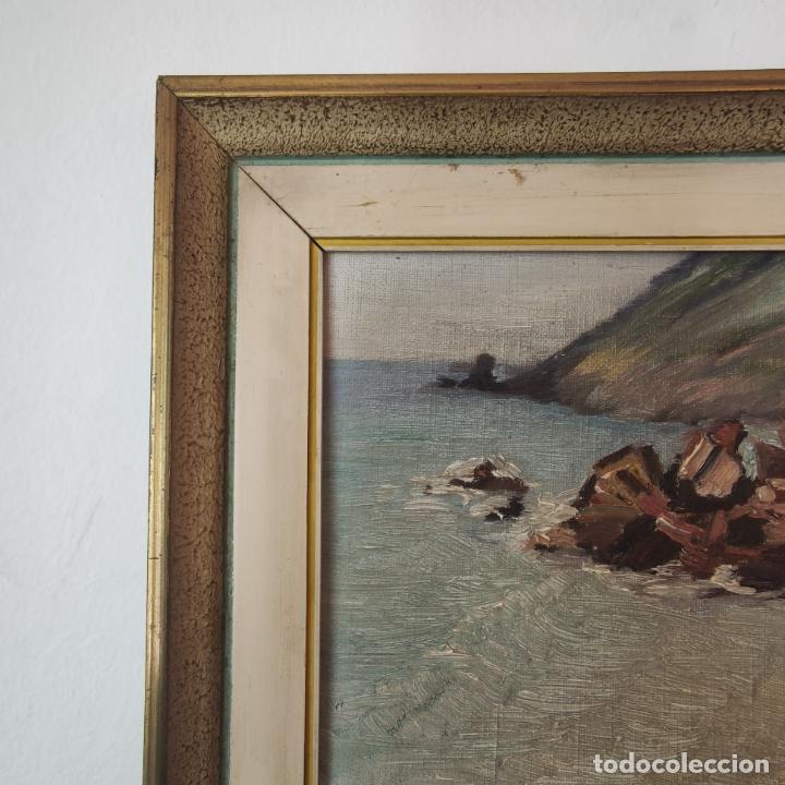 Arte: Oleo sobre lienzo. Paisaje marino. Rocas en la costa. Siglo XIX-XX. - Foto 3 - 245969920