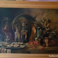 Arte: BODEGON OSTRAS Y GAMBAS EPOCA MODERNISTA 1918. Lote 245983615