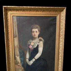 Arte: ANTIGUO ÓLEO SOBRE LIENZO, RETRATO DE EMPRESARIA DE ZARAGOZA. JOSÉ GONZÁLVEZ MARTÍNEZ. 1891 150X110. Lote 246006810