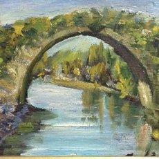 Arte: PUENTE ROMANO, PINTURA AL ÓLEO SOBRE TABLA, CON ESPÁTULA Y PINCEL, MARCO MADERA, 55X32 CM.. Lote 246010800