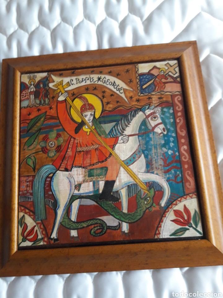 SAN JORGE, OLEO SOBRE MADERA, FIRMADO SIMONA POP, 78 (Arte - Pintura - Pintura al Óleo Contemporánea )