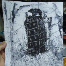 Arte: TORRE DE HÉRCUES POR EL CHANO MIDE 30 X 41CM. ART-BRUT ÓLEO SOBRE CARTULINA EL CHANO. Lote 246115690