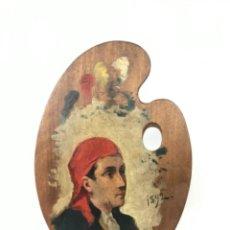 Arte: ANTIGUA PALETA DE PINTOR PINTADA AL ÓLEO RETRATO FECHADO 1892 FIRMA -V-. Lote 246179315