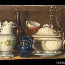 Arte: ANTIGUO ÓLEO SOBRE LIENZO, CERÁMICA DE ALCORA, BRISTOL,PICKMAN, CERÁMICA VASCA Y CRISTAL. XIX. 63X42. Lote 246278300