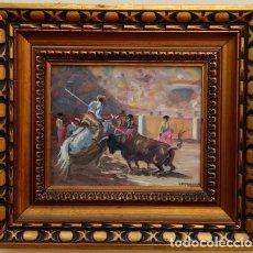 Arte: ÓLEO S/LIENZO DE VICENTE PIERNAGORDA, CON MOTIVO TAURINO. FECHADO EN 1978 EN BAENA. DIM.-43X38,5 CMS. Lote 246330100