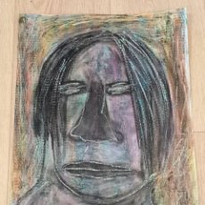 Arte: OBRA ARTE ORIGINAL STEVEN MANLEY CERA SOBRE PAPEL TECNICA MIXTA PRIMITIVISMO AFRO. Lote 246437315