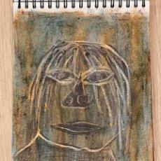 Arte: OBRA ARTE ORIGINAL STEVEN MANLEY CERA SOBRE PAPEL TECNICA MIXTA PRIMITIVISMO AFRO. Lote 246437685