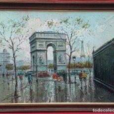 Arte: ÓLEO SOBRE LIENZO OBACH CARNÉ - ARC DE TRIOMF. Lote 246463495