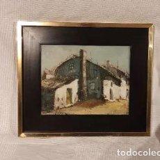 Arte: CUADRO OLEO SOBRE LIENZO, CASAS DE PUEBLO, FIRMA. Lote 246677970