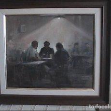 Arte: EXCELENTE ÓLEO SOBRE LIENZO. TERTULIA DE CAFÉ. JORDI SERRAT BALASH. 1980.. Lote 246850465