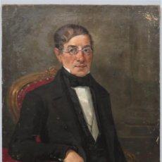 Arte: RETRATO DE CABALLERO CON LENTES. OLEO S/ LIENZO. FIRMADO Y DEDICADO. L.M. MADRID. 1867. Lote 246986305