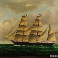 Arte: LA CORBETA MARTI CODOLAR. FIRMADO. J. MORGAN (?). ÓLEO SOBRE LIENZO. ESPAPA. 1876. Lote 247104595