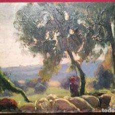 Arte: PASTOR CON REBAÑO POR ENRIC GALWEY (1864-1931). Lote 247179085