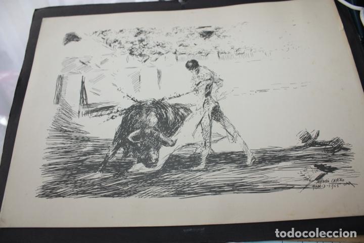 CUADRO AGUADA TAURINA EN BLANCO Y NEGRO DE ANTONIO CASERO, 1965. 30 X 21,50. (Arte - Pintura Directa del Autor)