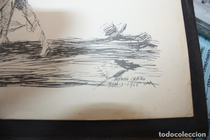 Arte: CUADRO AGUADA TAURINA EN BLANCO Y NEGRO DE ANTONIO CASERO, 1965. 30 X 21,50. - Foto 2 - 247365235