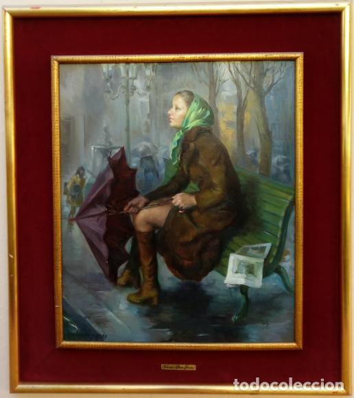 ÓLEO DE FRANCISCO RIBERA GÓMEZ. FIRMADO, FECHADO MCMLXXIII Y TITULADO -CHIRIMIRI-. DIM.-78.5X69 CMS. (Arte - Pintura - Pintura al Óleo Contemporánea )