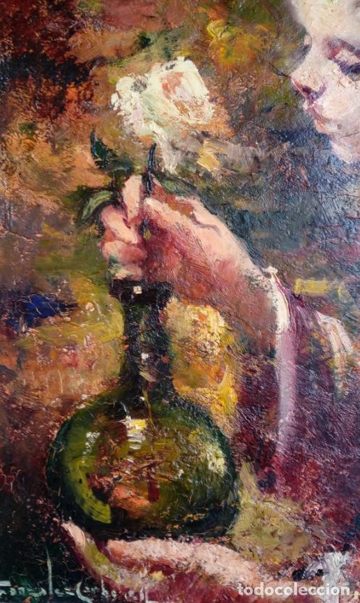 Arte: ÓLEO S/LIENZO DE ROSENDO GONZÁLEZ CARBONELL -NIÑA COLOCANDO UNA FLOR-. DIM.-58X49,5 CMS. - Foto 3 - 43756645