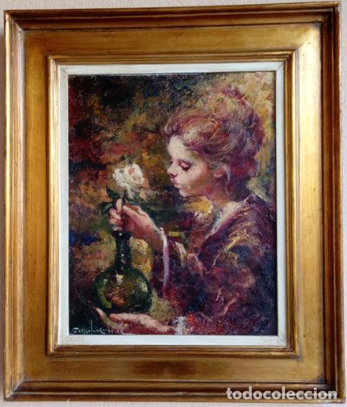 ÓLEO S/LIENZO DE ROSENDO GONZÁLEZ CARBONELL -NIÑA COLOCANDO UNA FLOR-. DIM.-58X49,5 CMS. (Arte - Pintura - Pintura al Óleo Moderna sin fecha definida)