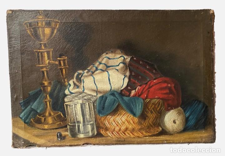 ANTIGUO ÓLEO SOBRE LIENZO, BODEGÓN, ESCENA CASERA. S. XIX. (Arte - Pintura - Pintura al Óleo Moderna siglo XIX)