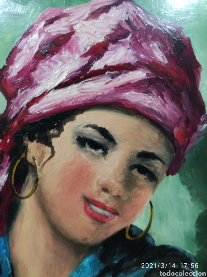 Arte: Pintura acrílica de joven con pañuelo - Foto 2 - 247791215