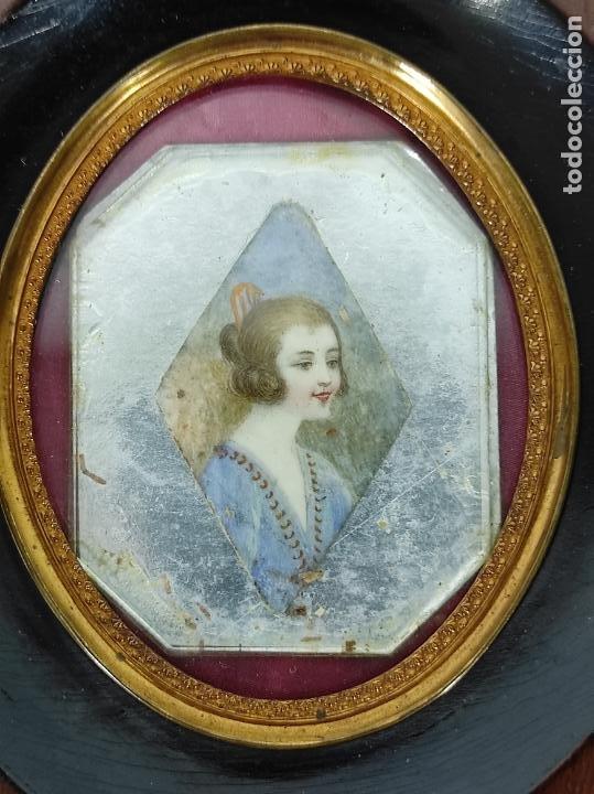 Arte: Preciosa Miniatura - Óleo sobre Marfil - Antiguo Espejo - S.XIX - Foto 2 - 247911805