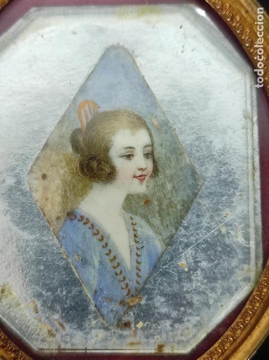 Arte: Preciosa Miniatura - Óleo sobre Marfil - Antiguo Espejo - S.XIX - Foto 4 - 247911805