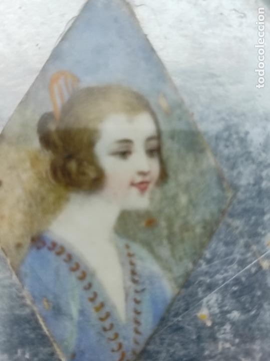 Arte: Preciosa Miniatura - Óleo sobre Marfil - Antiguo Espejo - S.XIX - Foto 5 - 247911805