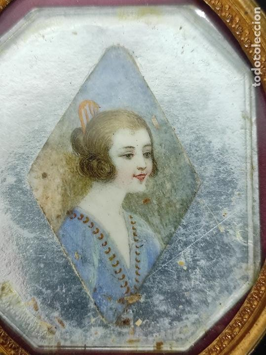 Arte: Preciosa Miniatura - Óleo sobre Marfil - Antiguo Espejo - S.XIX - Foto 6 - 247911805