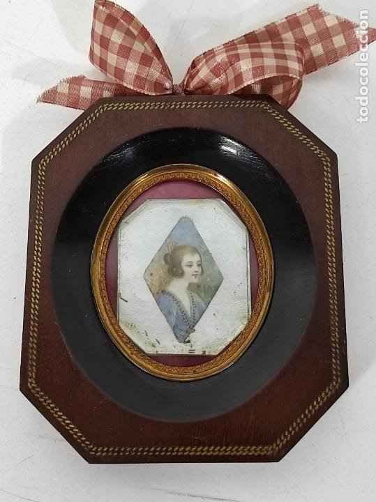 Arte: Preciosa Miniatura - Óleo sobre Marfil - Antiguo Espejo - S.XIX - Foto 7 - 247911805