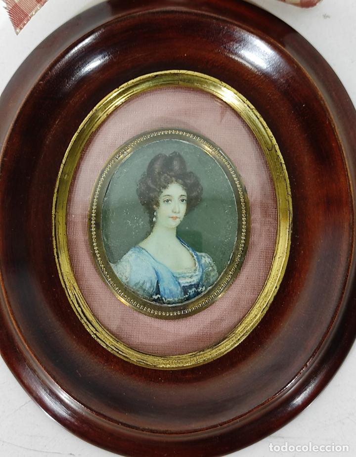 Arte: Miniatura - Óleo sobre Marfil - Retrato Señora - S.XIX - Foto 2 - 247918220