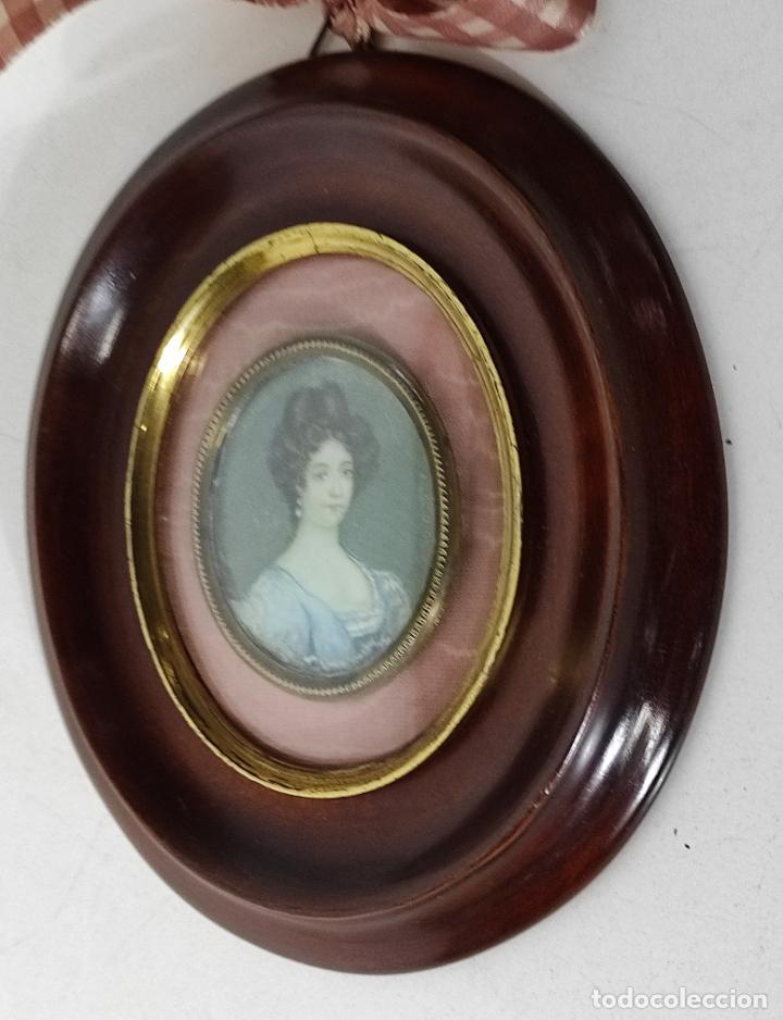 Arte: Miniatura - Óleo sobre Marfil - Retrato Señora - S.XIX - Foto 5 - 247918220