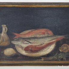 Arte: OLEO NATURALEZA MUERTA-BODEGON-CAZA-PESCA -SIGLO XVIII-CATALUÑA-- --REF-MO. Lote 248018340