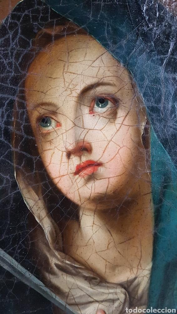 Arte: Cuadro / Oleo sobre lienzo de Virgen / Dolorosa. Escuela andaluza , Sevilla s. XVIII. - Foto 3 - 248044895