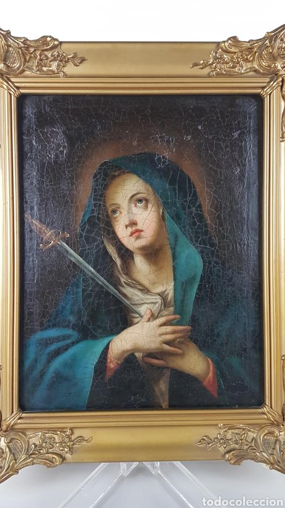 Arte: Cuadro / Oleo sobre lienzo de Virgen / Dolorosa. Escuela andaluza , Sevilla s. XVIII. - Foto 5 - 248044895