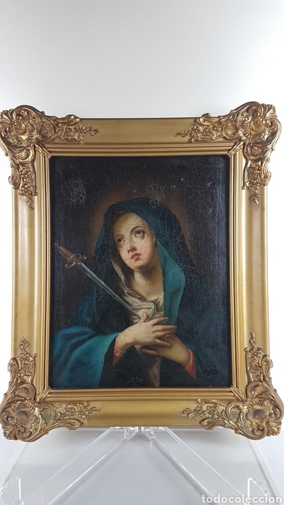 Arte: Cuadro / Oleo sobre lienzo de Virgen / Dolorosa. Escuela andaluza , Sevilla s. XVIII. - Foto 6 - 248044895