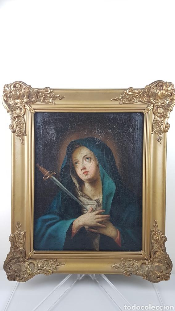 Arte: Cuadro / Oleo sobre lienzo de Virgen / Dolorosa. Escuela andaluza , Sevilla s. XVIII. - Foto 7 - 248044895