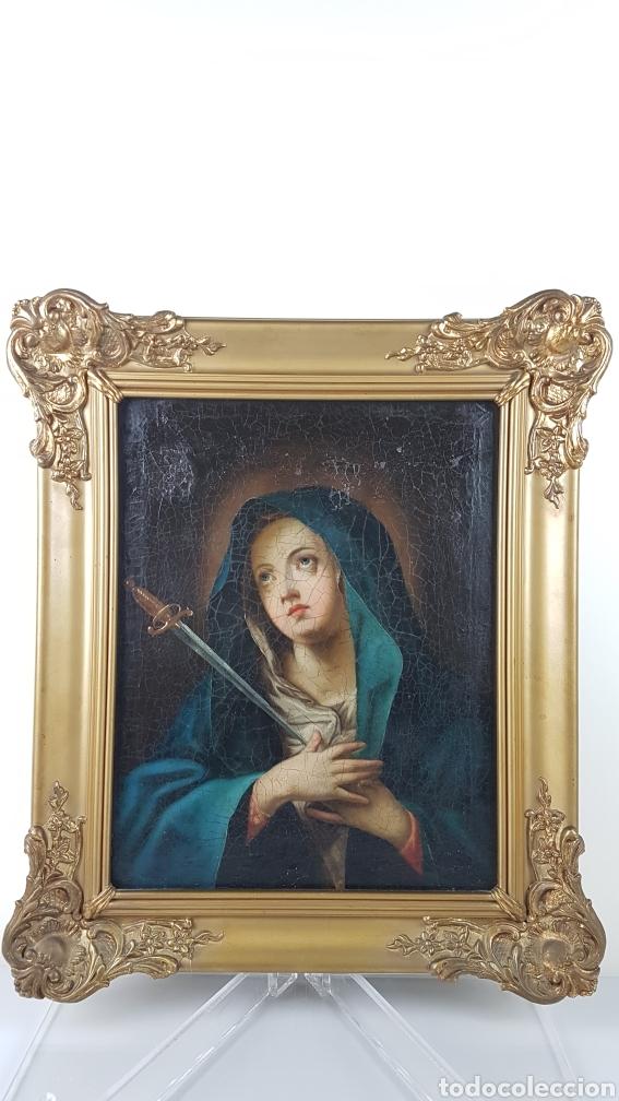 CUADRO / OLEO SOBRE LIENZO DE VIRGEN / DOLOROSA. ESCUELA ANDALUZA , SEVILLA S. XVIII. (Arte - Pintura - Pintura al Óleo Antigua siglo XVIII)