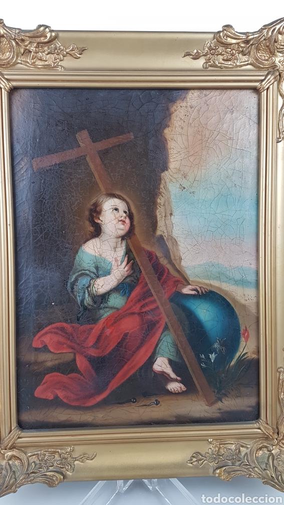 Arte: Cuadro / Oleo sobre lienzo de Niño de la Pasión . Escuela andaluza , Sevilla s. XVIII. - Foto 5 - 248050840