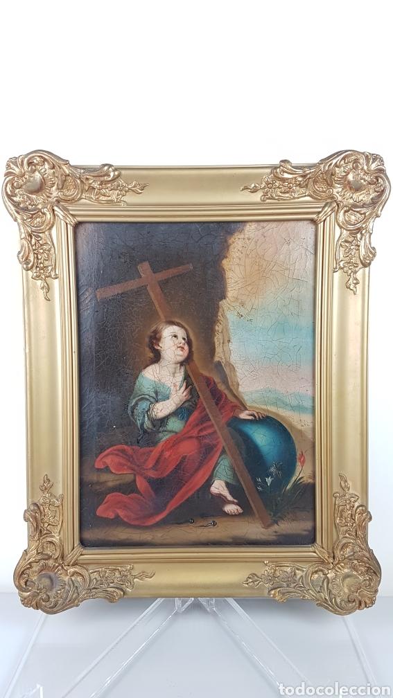 Arte: Cuadro / Oleo sobre lienzo de Niño de la Pasión . Escuela andaluza , Sevilla s. XVIII. - Foto 6 - 248050840