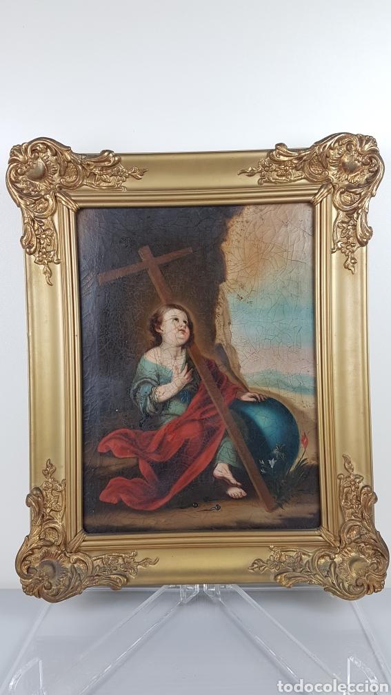 Arte: Cuadro / Oleo sobre lienzo de Niño de la Pasión . Escuela andaluza , Sevilla s. XVIII. - Foto 7 - 248050840