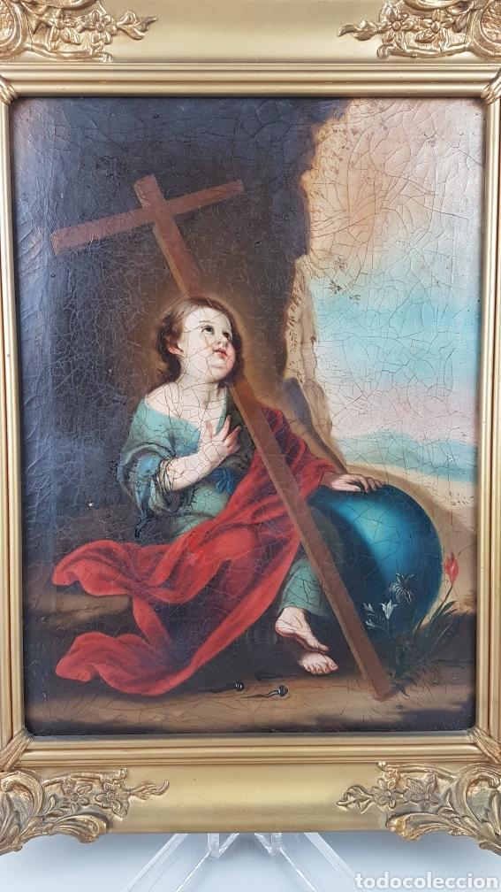 CUADRO / OLEO SOBRE LIENZO DE NIÑO DE LA PASIÓN . ESCUELA ANDALUZA , SEVILLA S. XVIII. (Arte - Pintura - Pintura al Óleo Antigua siglo XVIII)