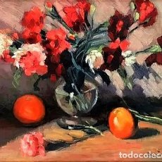 Arte: JARRON CON CLAVELES FIRMADO ILEGIBLE. Lote 248311455