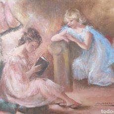 Arte: MONTSERRAT BARTA PRATS (BARCELONA, 1906-1988) - NIÑAS EN EL SALÓN.OLEO/TELA.FIRMADO.. Lote 248590965