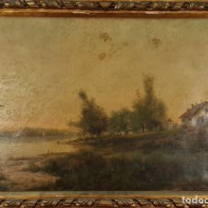 Arte: PAISAJE CON CASA. FIRMADO MEIFREN E. ÓLEO SOBRE LIENZO. 1884.. Lote 297160313