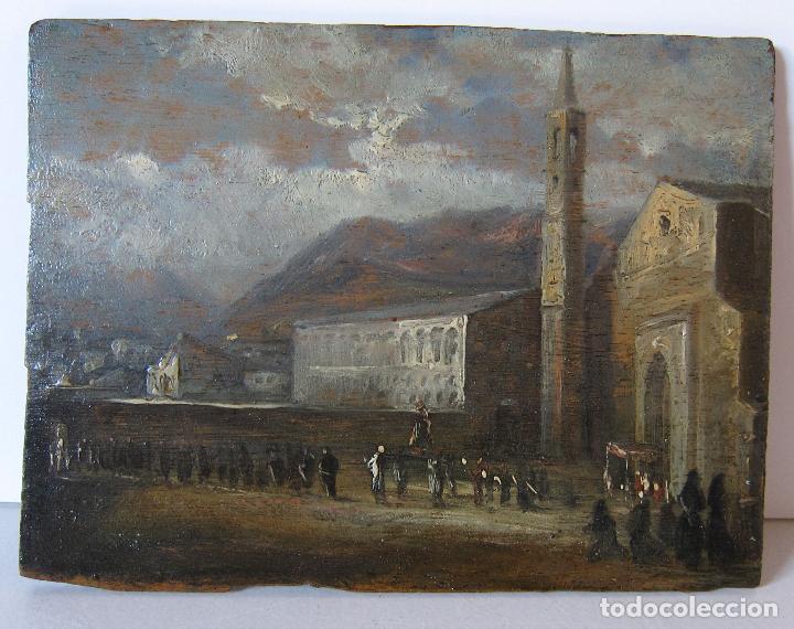 Arte: ATRIBUIDO A JENARO PEREZ VILLAAMIL. PROCESIÓN. OLEO SOBRE TABLA. 14,2 x 18,7 cm - Foto 2 - 248716470